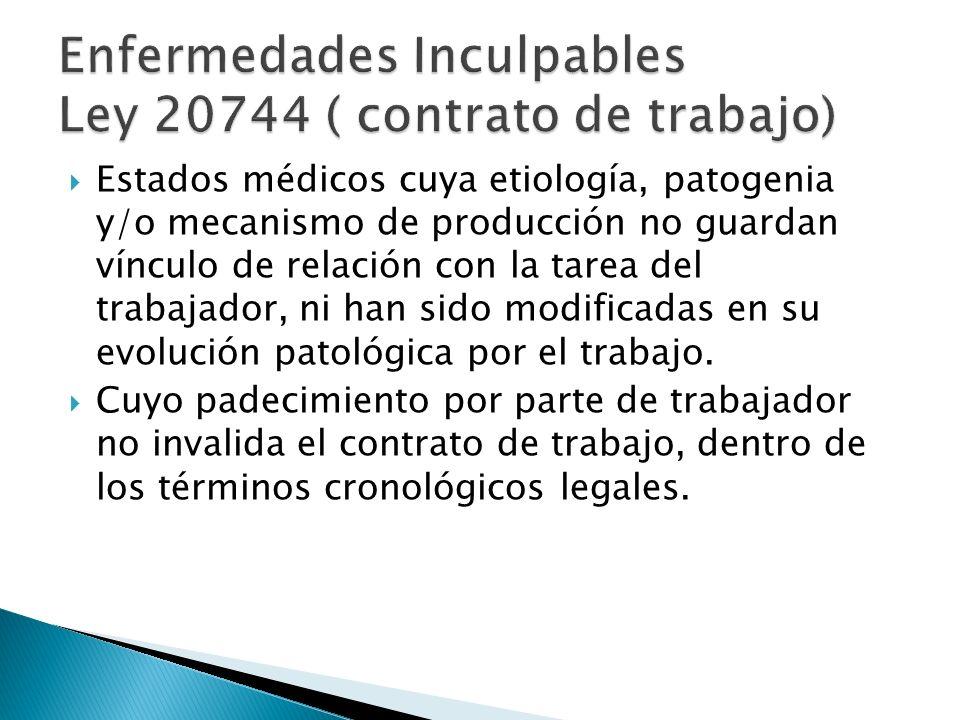 Enfermedades Inculpables Ley 20744 ( contrato de trabajo)