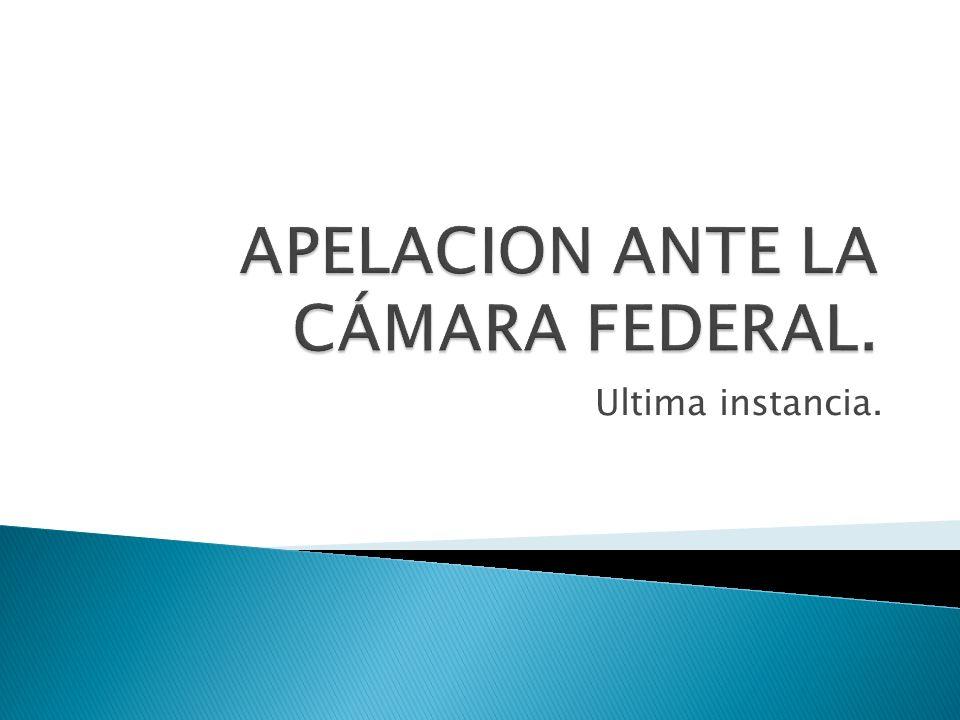 APELACION ANTE LA CÁMARA FEDERAL.