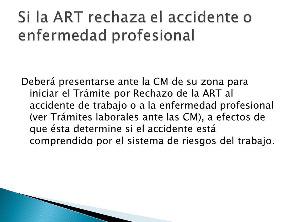 Si la ART rechaza el accidente o enfermedad profesional