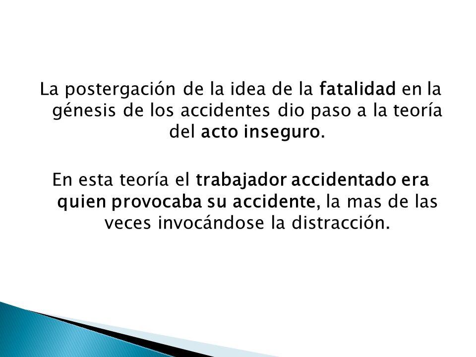 La postergación de la idea de la fatalidad en la génesis de los accidentes dio paso a la teoría del acto inseguro.