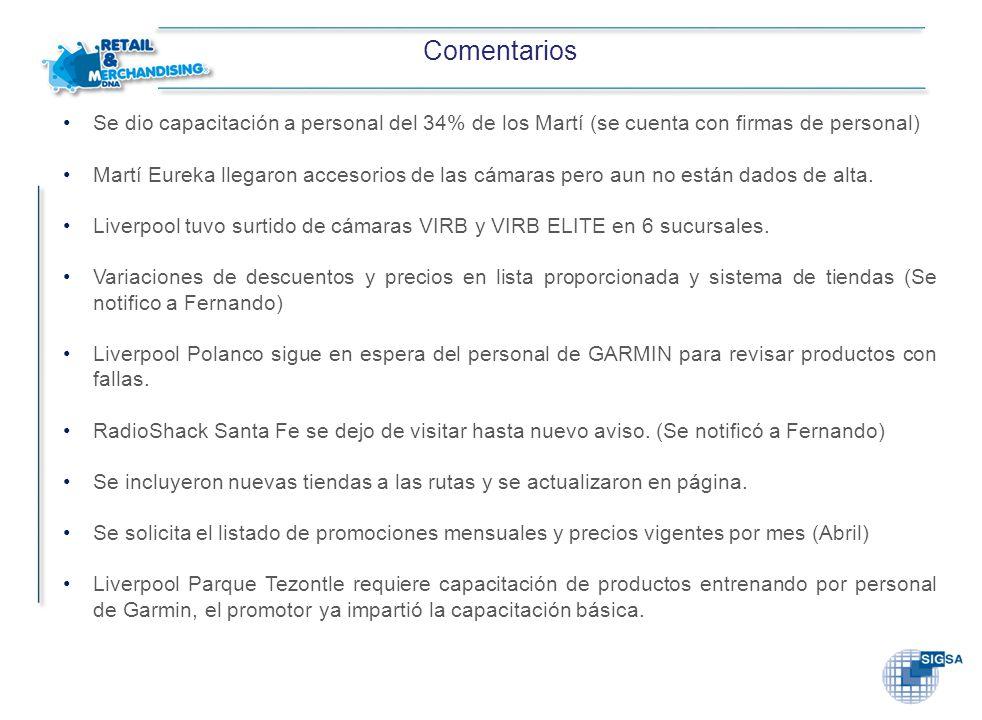 Comentarios Se dio capacitación a personal del 34% de los Martí (se cuenta con firmas de personal)