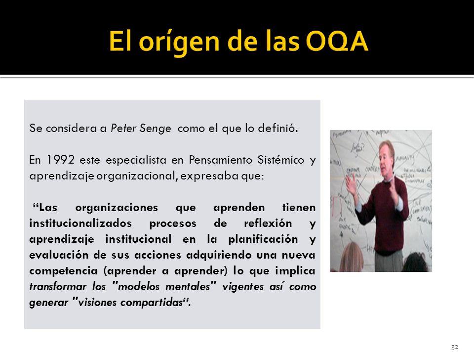 El orígen de las OQA Se considera a Peter Senge como el que lo definió.