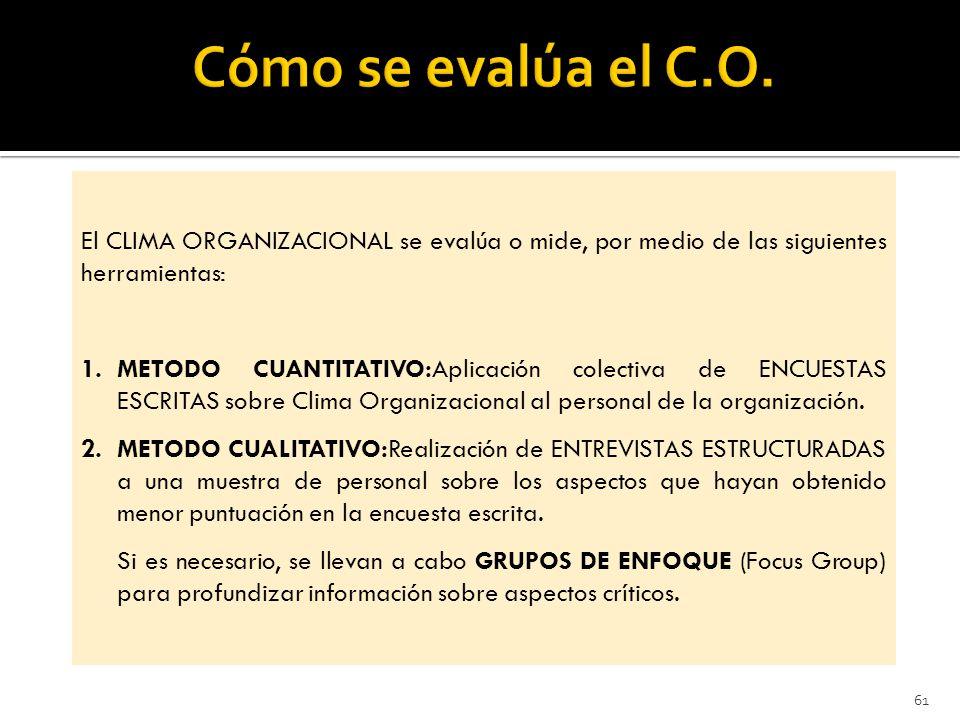 Cómo se evalúa el C.O. El CLIMA ORGANIZACIONAL se evalúa o mide, por medio de las siguientes herramientas:
