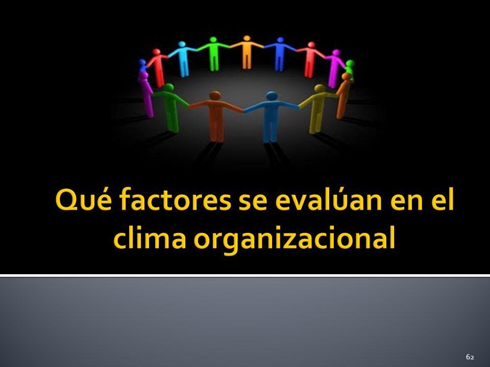 Qué factores se evalúan en el clima organizacional