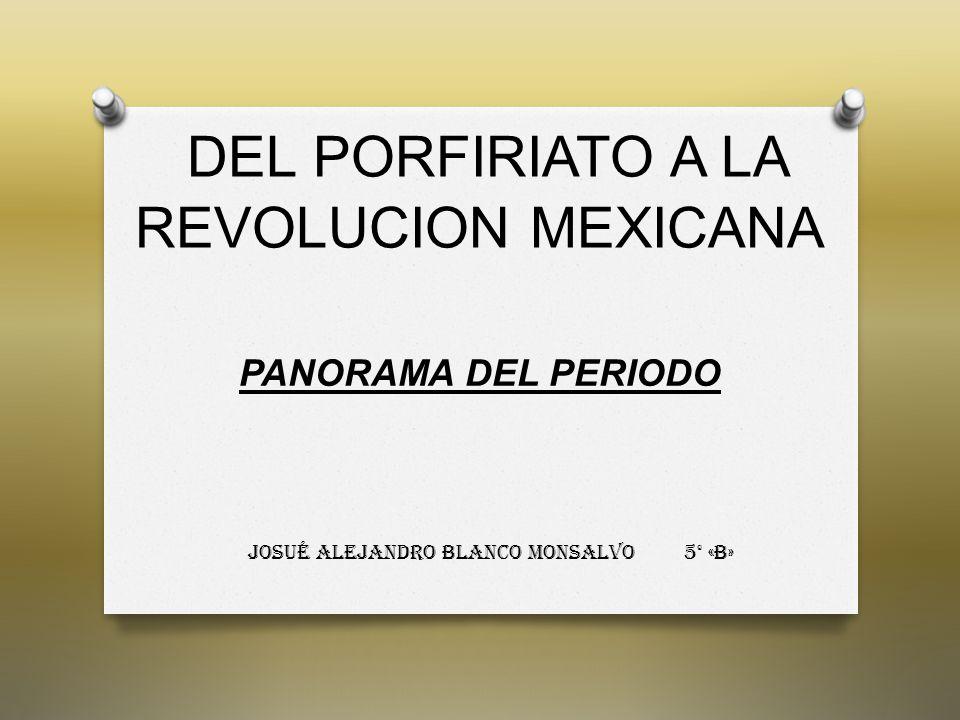 DEL PORFIRIATO A LA REVOLUCION MEXICANA