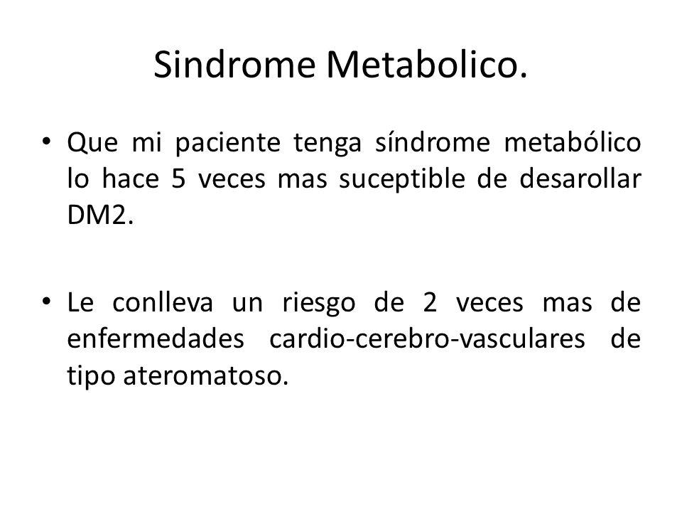 Sindrome Metabolico. Que mi paciente tenga síndrome metabólico lo hace 5 veces mas suceptible de desarollar DM2.