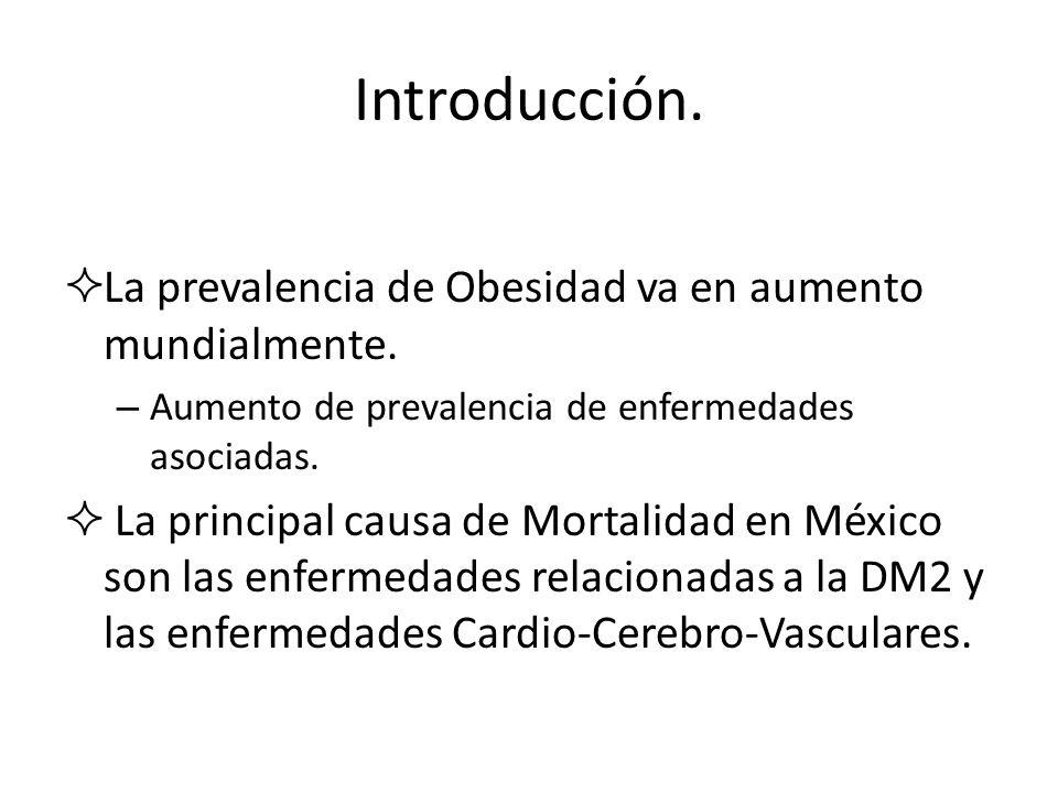 Introducción. La prevalencia de Obesidad va en aumento mundialmente.