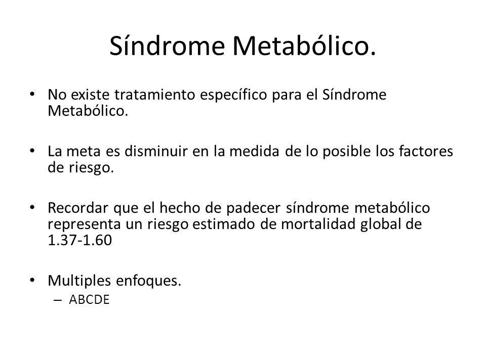 Síndrome Metabólico. No existe tratamiento específico para el Síndrome Metabólico.