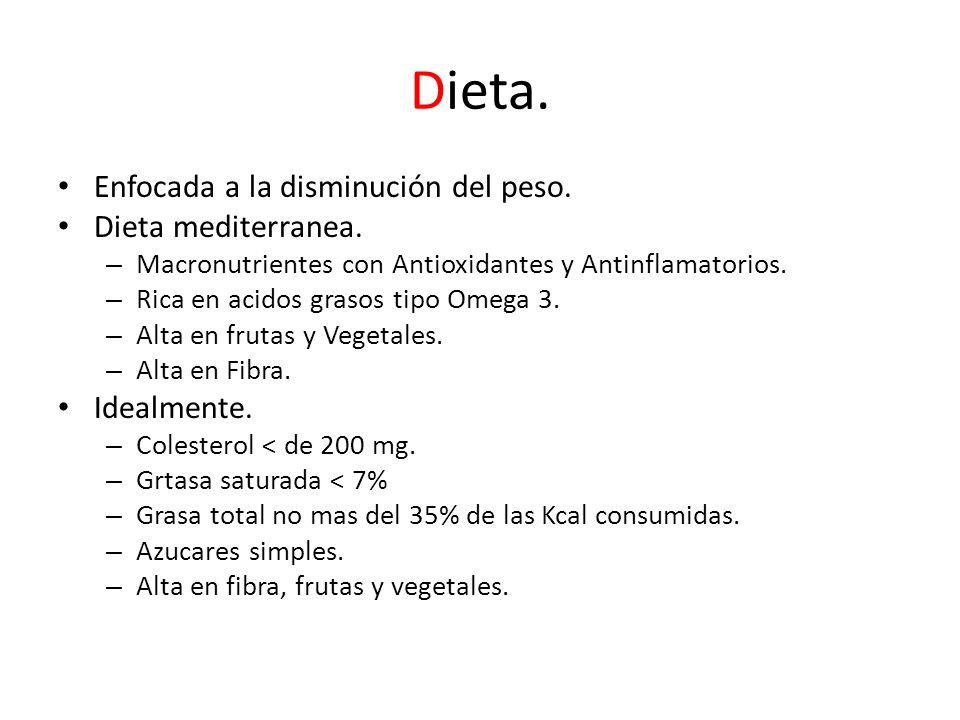 Dieta. Enfocada a la disminución del peso. Dieta mediterranea.