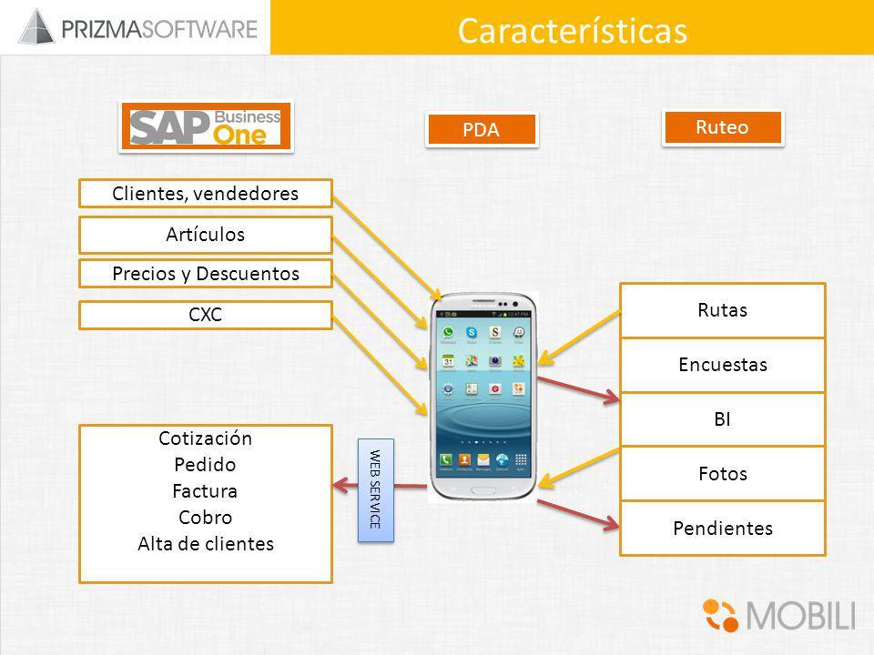 Características Ruteo PDA Clientes, vendedores Artículos
