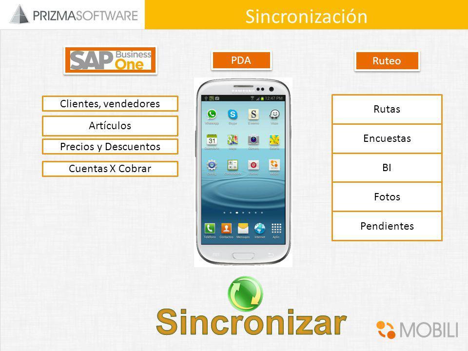 Sincronizar Sincronización PDA Ruteo Clientes, vendedores Rutas