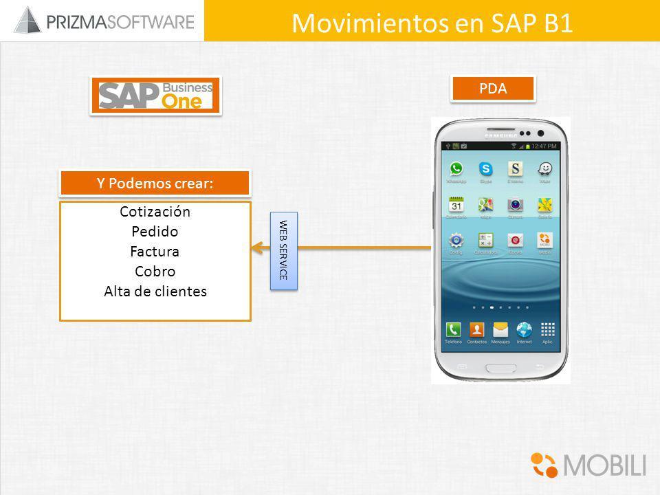 Movimientos en SAP B1 PDA Y Podemos crear: Cotización Pedido Factura