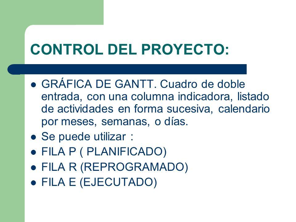 CONTROL DEL PROYECTO: