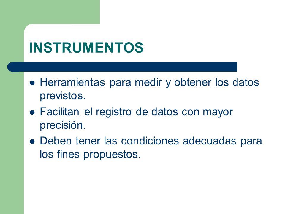 INSTRUMENTOS Herramientas para medir y obtener los datos previstos.