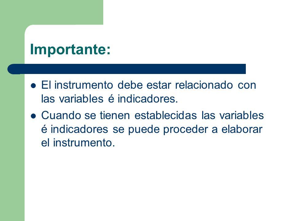 Importante:El instrumento debe estar relacionado con las variables é indicadores.