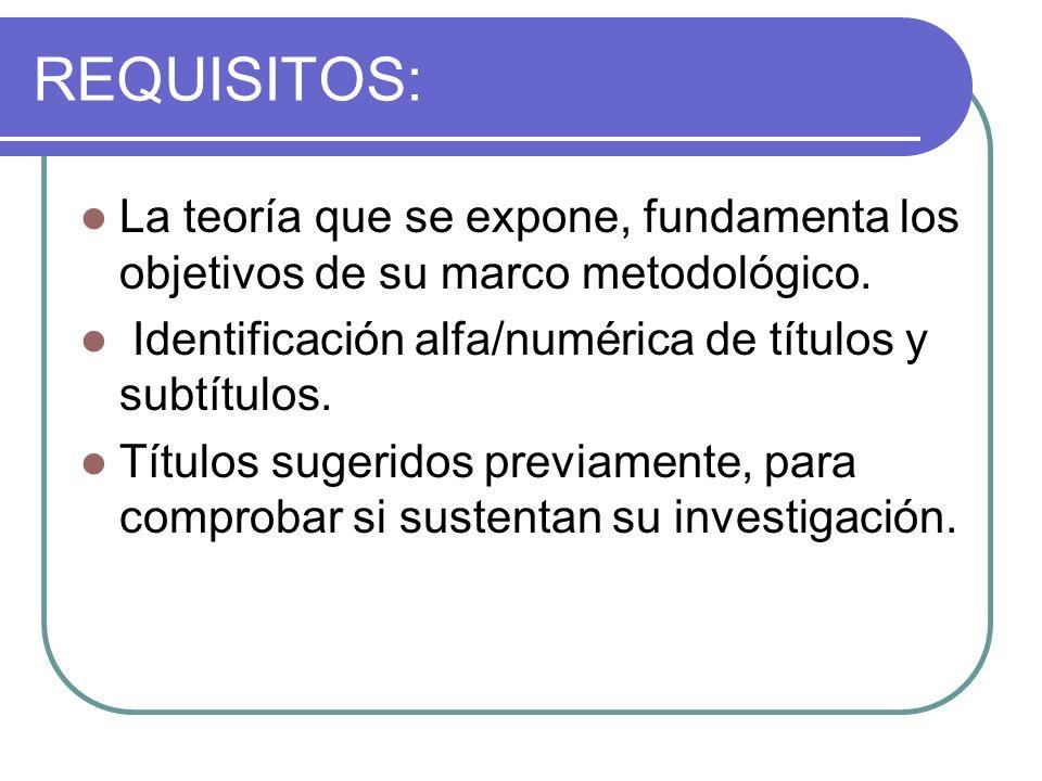 REQUISITOS: La teoría que se expone, fundamenta los objetivos de su marco metodológico. Identificación alfa/numérica de títulos y subtítulos.