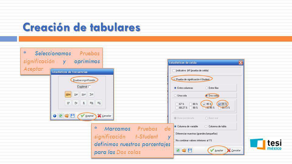 Creación de tabulares * Seleccionamos Pruebas significación y oprimimos Aceptar.