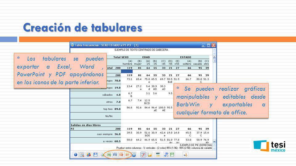 Creación de tabulares * Los tabulares se pueden exportar a Excel, Word , PowerPoint y PDF apoyándonos en los iconos de la parte inferior.