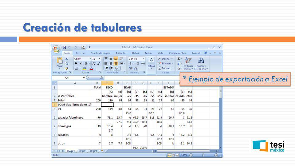 Creación de tabulares * Ejemplo de exportación a Excel