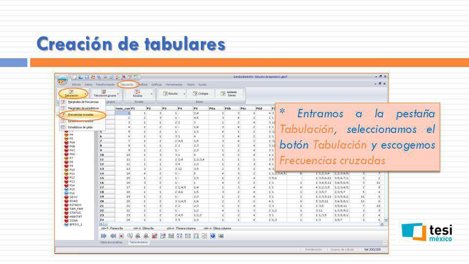 Creación de tabulares * Entramos a la pestaña Tabulación, seleccionamos el botón Tabulación y escogemos Frecuencias cruzadas.