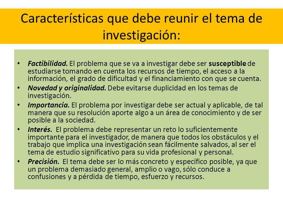 Características que debe reunir el tema de investigación: