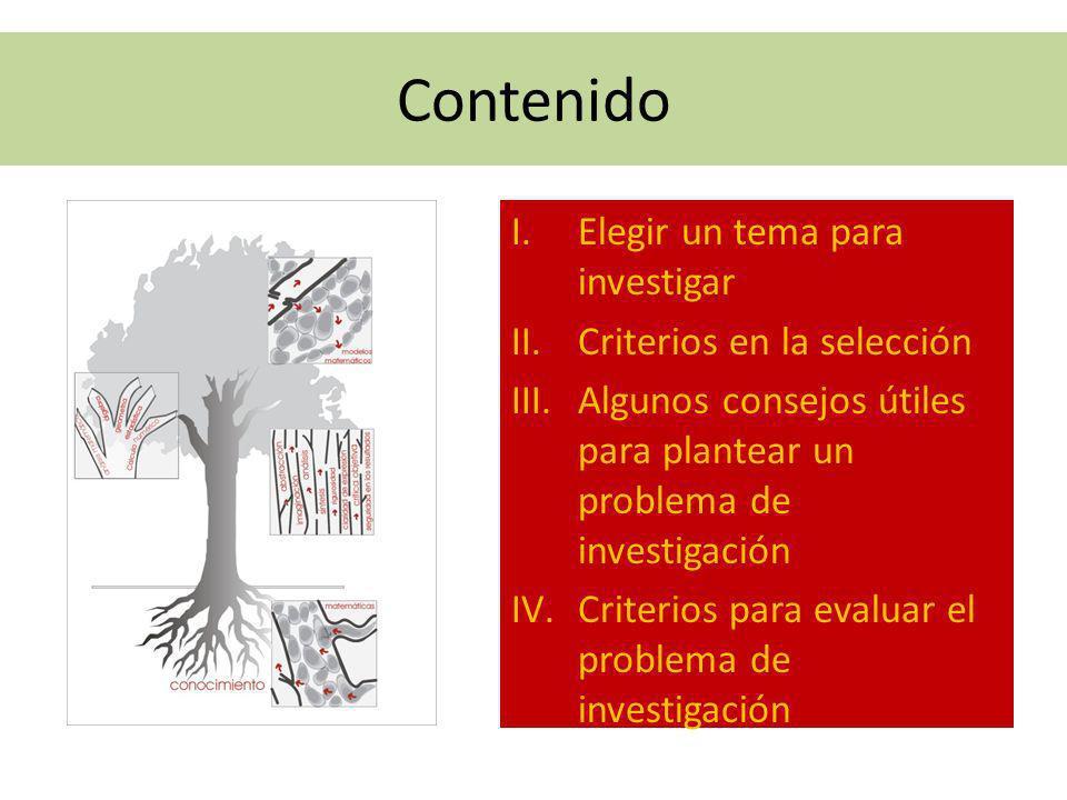Contenido Elegir un tema para investigar Criterios en la selección