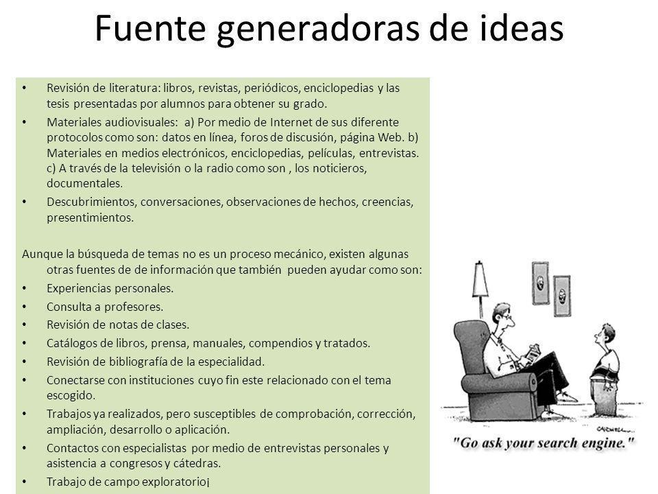 Fuente generadoras de ideas