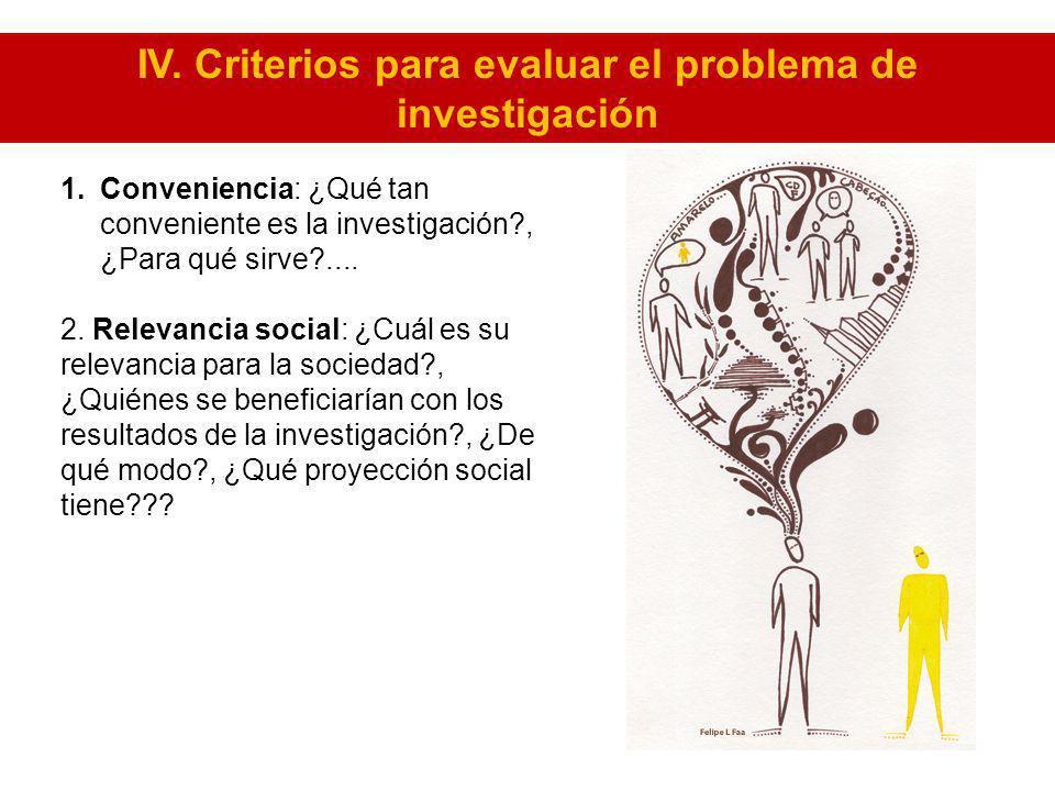 IV. Criterios para evaluar el problema de investigación