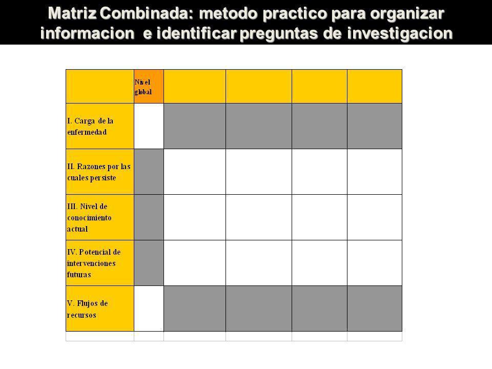 Matriz Combinada: metodo practico para organizar informacion e identificar preguntas de investigacion