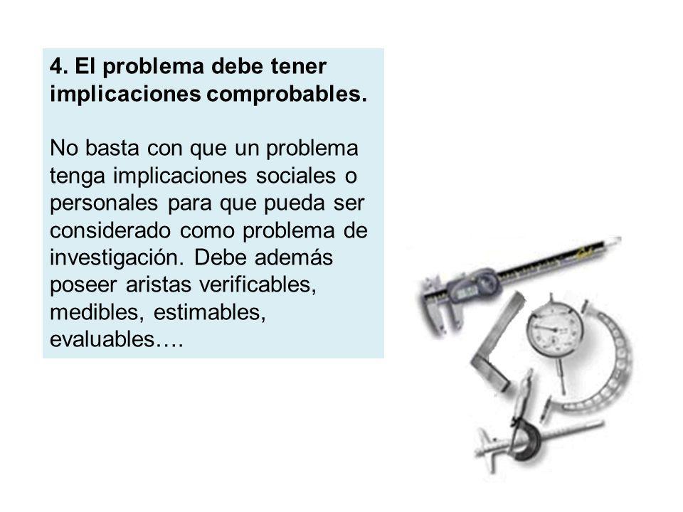 4. El problema debe tener implicaciones comprobables.