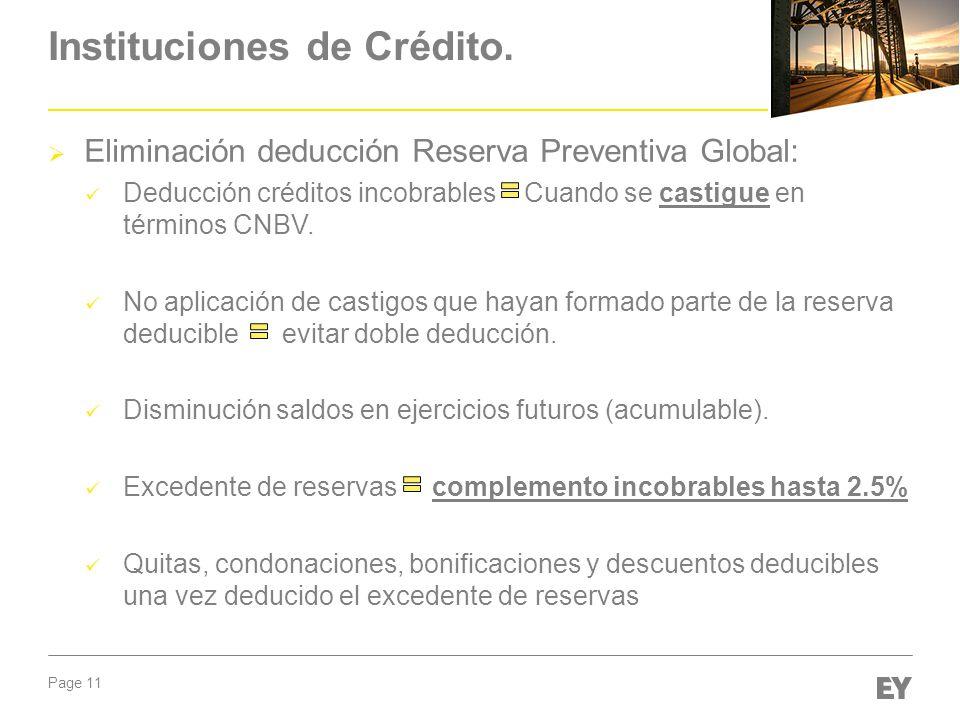 Instituciones de Crédito.