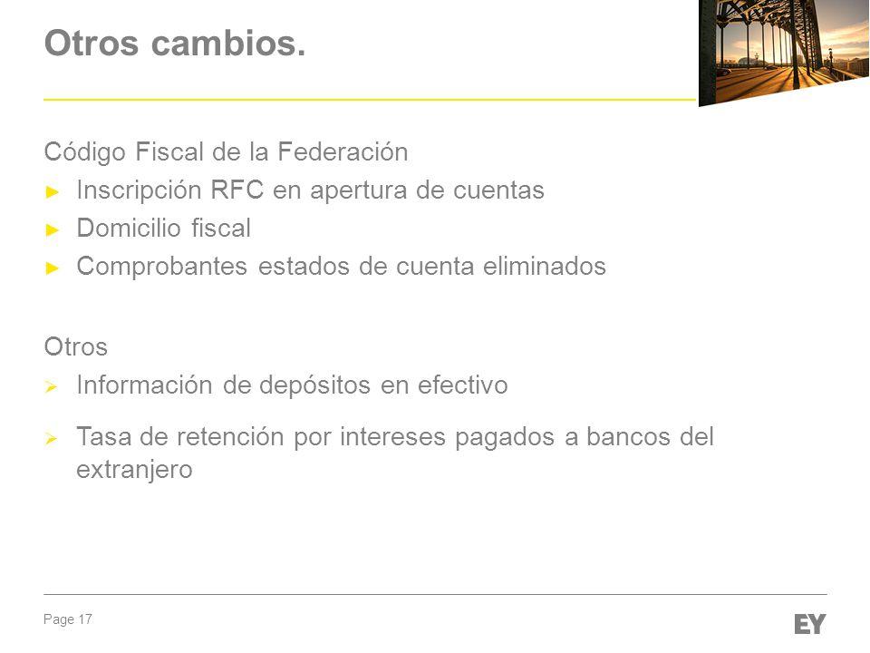 Otros cambios. Código Fiscal de la Federación