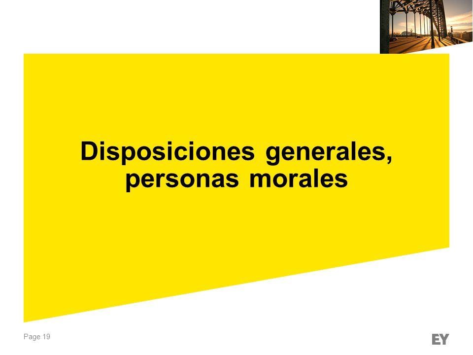 Disposiciones generales, personas morales