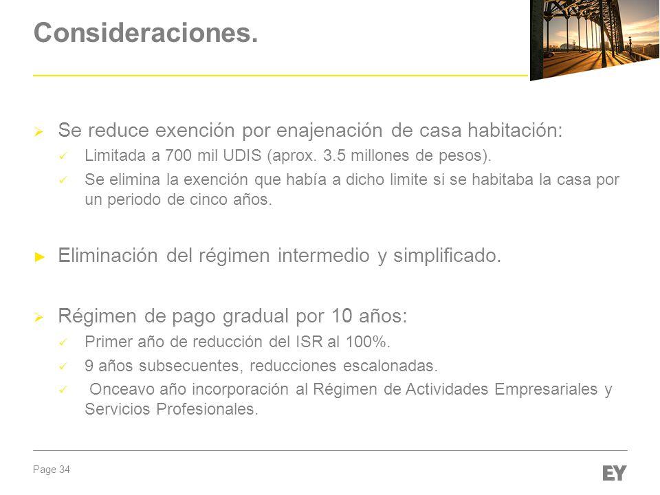 Consideraciones. Se reduce exención por enajenación de casa habitación: Limitada a 700 mil UDIS (aprox. 3.5 millones de pesos).