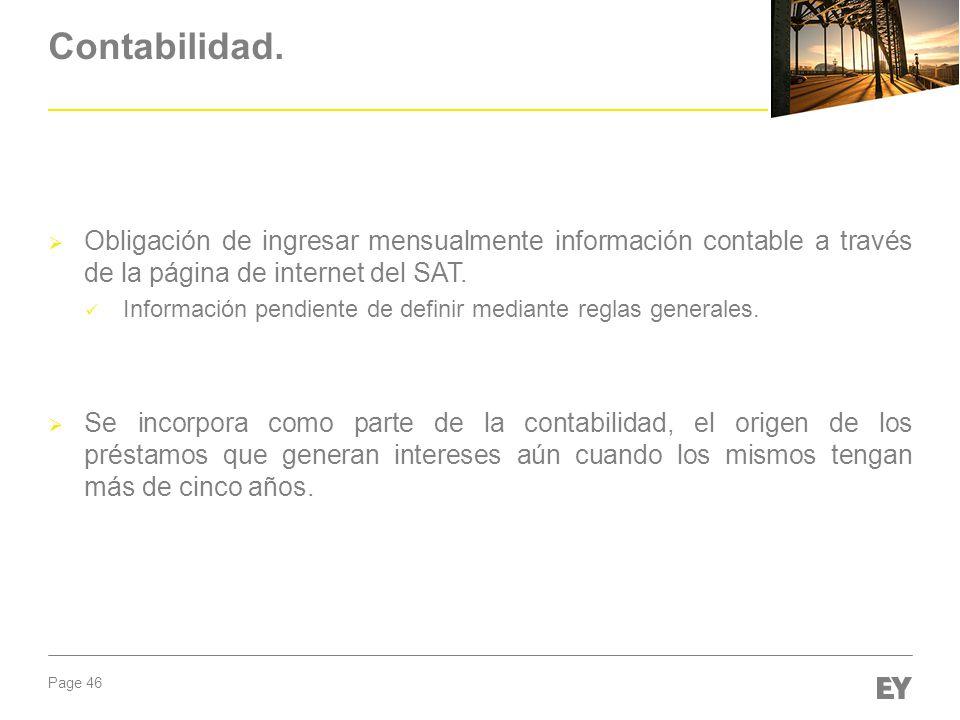 Contabilidad. Obligación de ingresar mensualmente información contable a través de la página de internet del SAT.