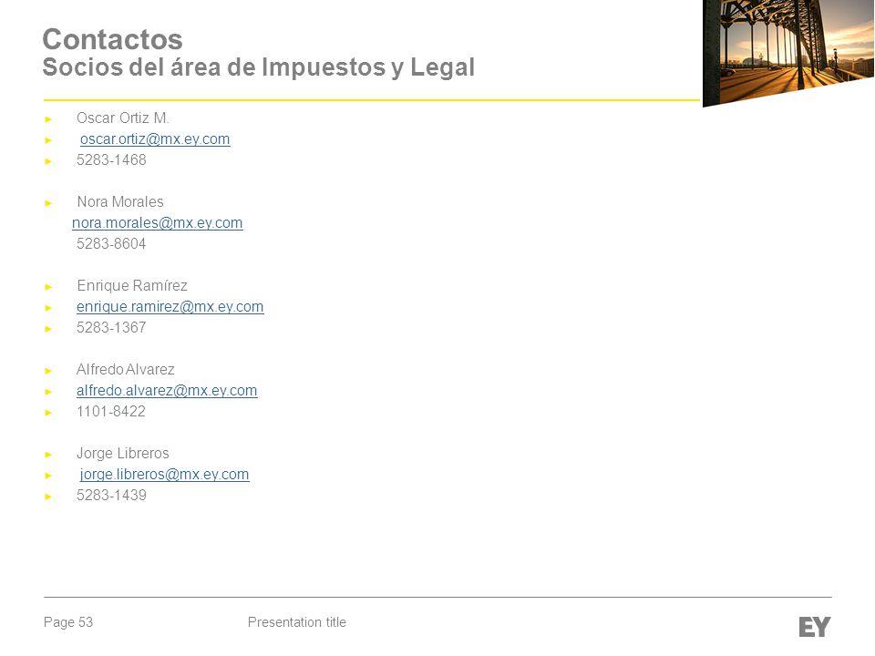 Contactos Socios del área de Impuestos y Legal