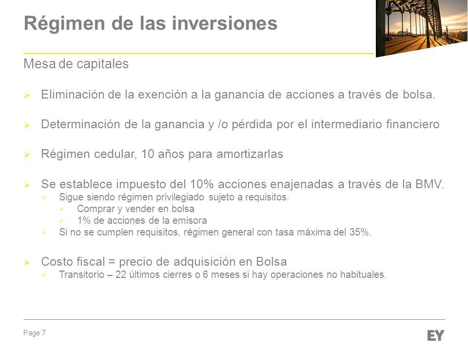 Régimen de las inversiones