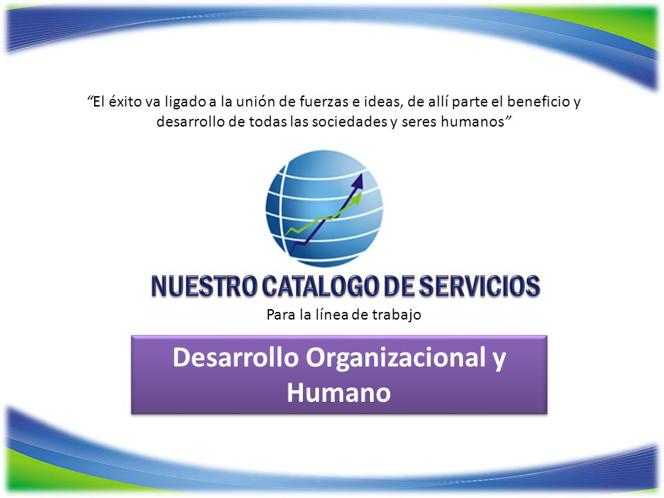NUESTRO CATALOGO DE SERVICIOS Desarrollo Organizacional y Humano