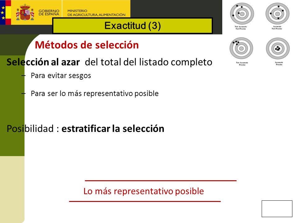 Métodos de selección Selección al azar del total del listado completo