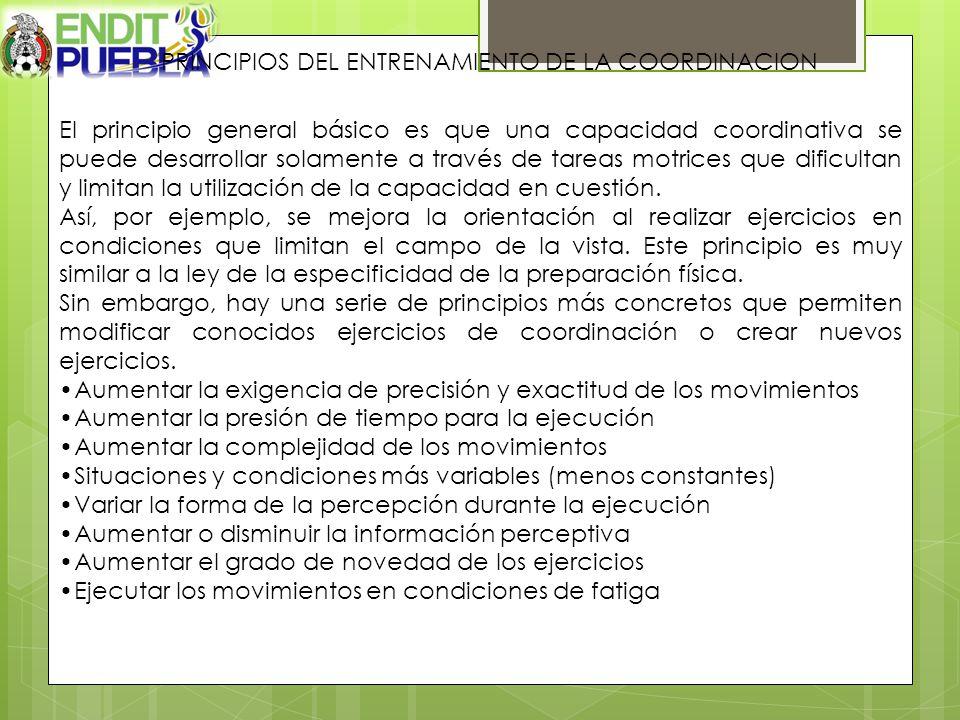 PRINCIPIOS DEL ENTRENAMIENTO DE LA COORDINACION