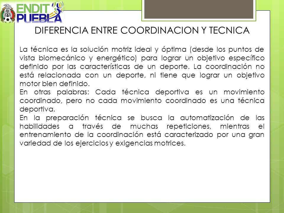 DIFERENCIA ENTRE COORDINACION Y TECNICA