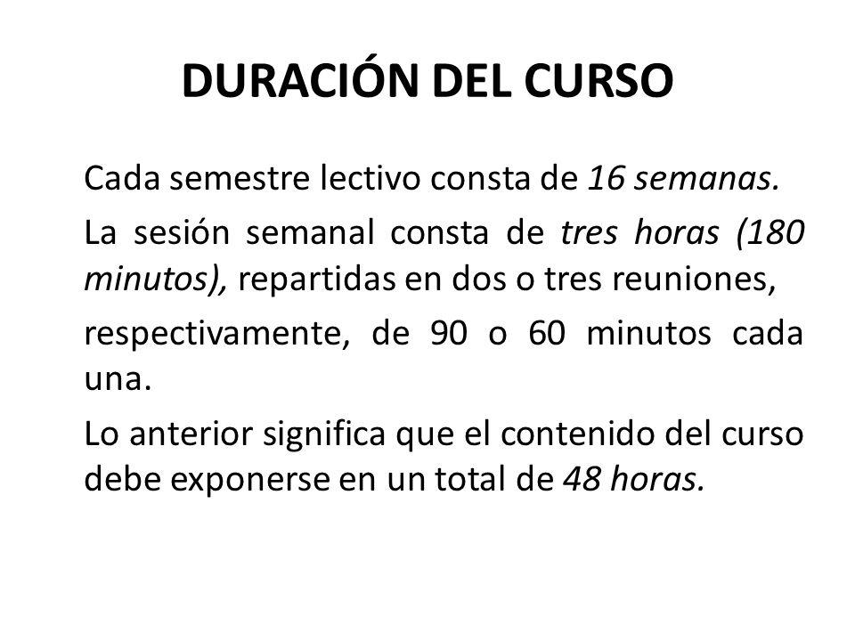 DURACIÓN DEL CURSO
