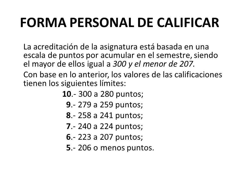FORMA PERSONAL DE CALIFICAR