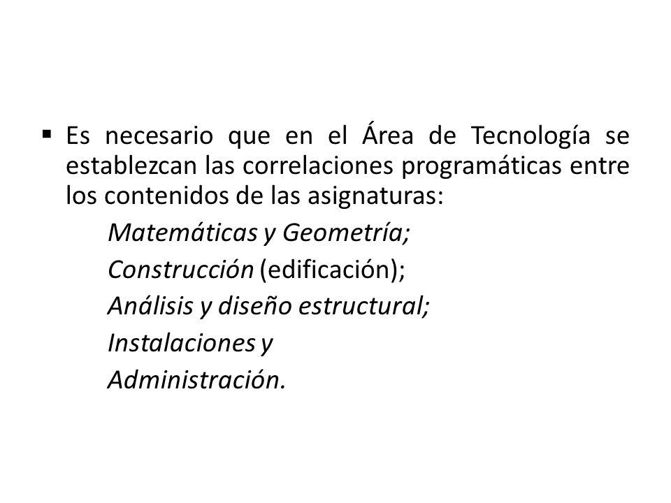 Es necesario que en el Área de Tecnología se establezcan las correlaciones programáticas entre los contenidos de las asignaturas: