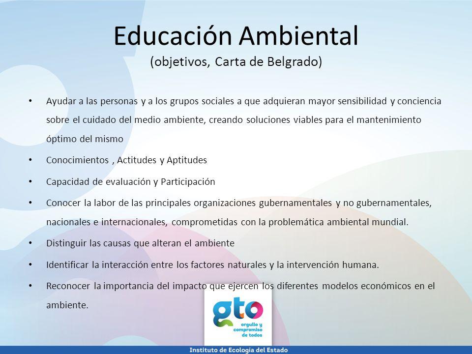 Educación Ambiental (objetivos, Carta de Belgrado)