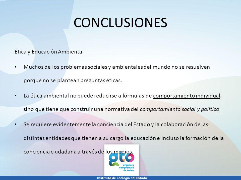 CONCLUSIONES Ética y Educación Ambiental