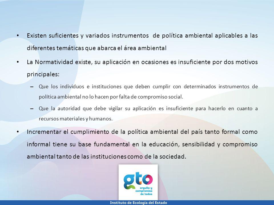 Existen suficientes y variados instrumentos de política ambiental aplicables a las diferentes temáticas que abarca el área ambiental