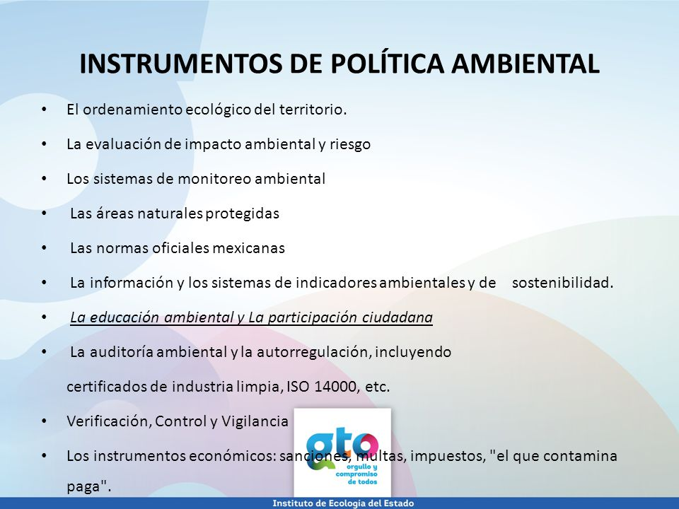 INSTRUMENTOS DE POLÍTICA AMBIENTAL
