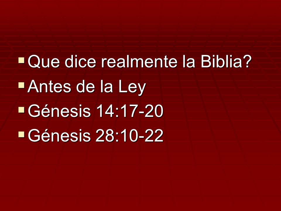 Que dice realmente la Biblia