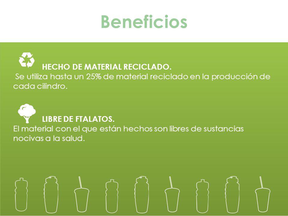 Beneficios HECHO DE MATERIAL RECICLADO.